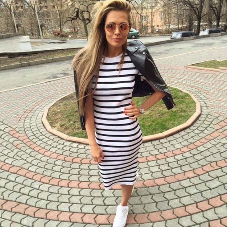 夏dress女性2017シースドレスstriped dress半袖プラスサイズの女性服ドレス半ばふくらはぎ