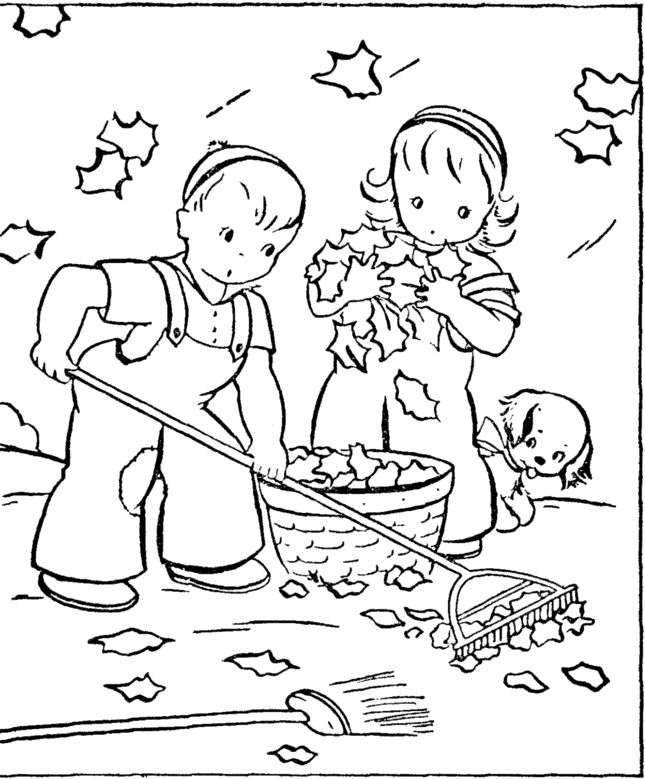 A Boy A Girl And Dog Cleaning Up Fall Leaves Coloring