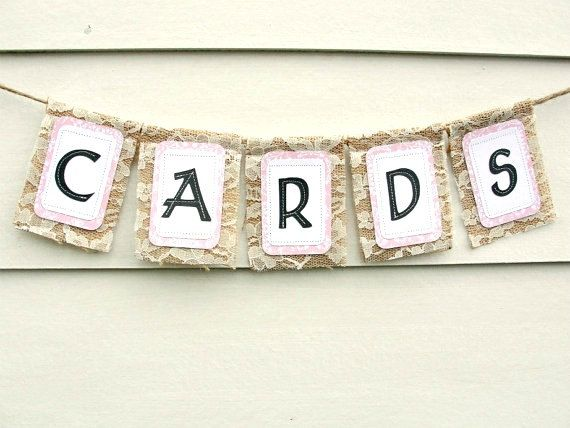CARDS Burlap & Lace Wedding Banner Rustic Chic by LazyCaterpillar