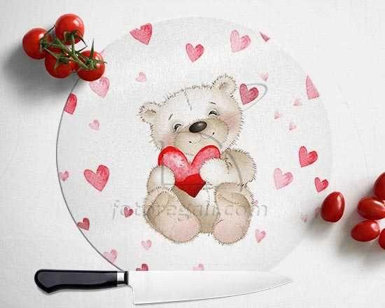 Tagliere rotondo in vetro Sweet teddy bear