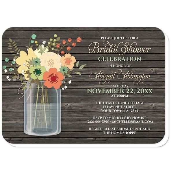 Rustic Southern Bridal Shower invitations with an orange and teal floral mason jar theme with pink and green accent flowers over a rustic wood pattern.
