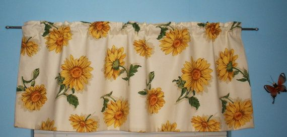 Sunflower Valance Curtain Vintage Original Bloomcraft Fabric Last One Beautiful Handmade