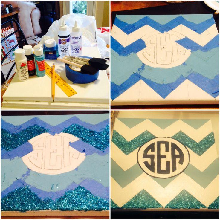 DIY paint and glitter chevron monogram canvas