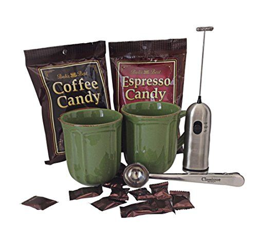 Traditional Espresso & Coffee Candy Set with 2 Mugs - Milk Frother - Coffee Clip/spoon, ,