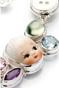 Vintage porslin pärlemoknappar ädelstenar silver halsband Anna Örnberg