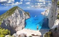 Zakynthos, Görögország, tenger, hajó, sziklák, felhő