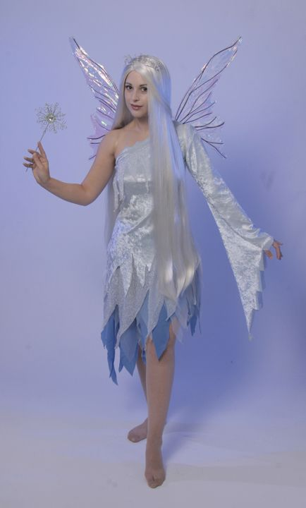 Ice Fairy White Blue And Silver Assymetrical Dress