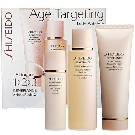 Shiseido Skincare 1 2 3 Benefiance WrinkleResist24 by Shiseido. $60.00. Shiseido BENEFIANCE WrinkleResist24 Age-Targeting 1-2-3 Kit; New in Box; **No U.S. Sale Tax** Extra Creamy Cleansing Foam 2.6oz + Balancing Softener Enriched 3.3oz + Day Emulsion SPF 15 PA++ 1oz. What it is:An introductory kit featuring Shiseido's Benefiance WrinkleResist24 age-targeting cleansing foam, softener, and day moisturizer with SPF sun protection.What it does:Newly reformulated, Shiseido Bene...