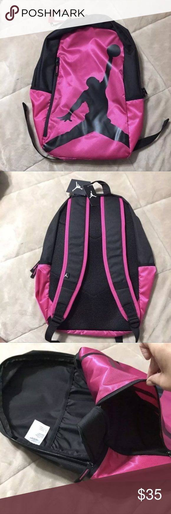 Jordan BookBag Pink NWT New with Tags! Ships Fast! Pink and Black Jordan  Girls , boys , Full Size Book bag With Laptop Storage  Large front storage pocket Bundle$Save! 19.5 tall 14.5 wide Accessories Bags