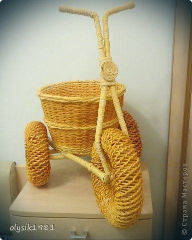 Поделка изделие Плетение Плетеный велосипед не детского размера Бумага газетная фото 3