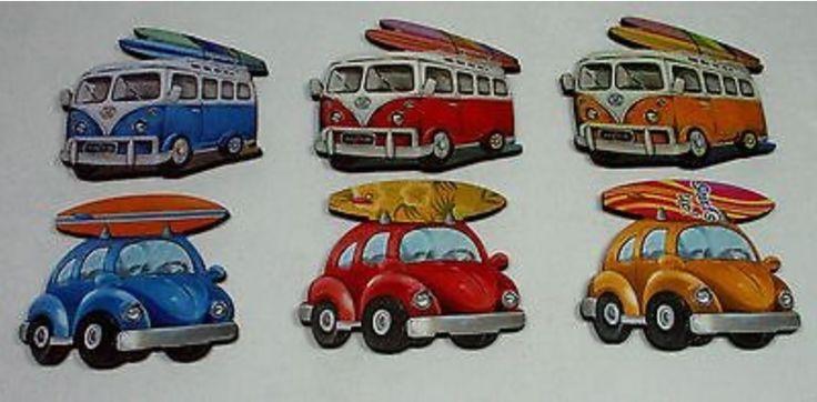 VW Volkswagon Fridge Magnets - Set of 3 - Beetle or Kombi Van
