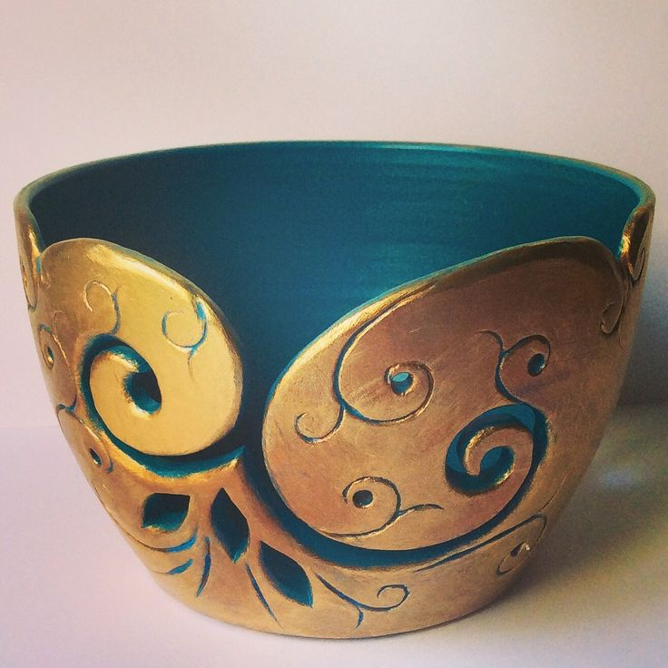 Yarn bowl painted teal blue inside and metallic wax burnished outside. £45 ($72)+shipping. Available at earthwoolfire.etsy.com from today. earthwoolfire@gmail.com