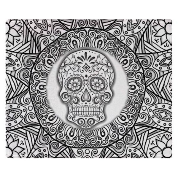Sugar Skull Fleece Blanket 60 X 80 Sketched Black and White ($56) ❤ liked on Polyvore featuring home, bed & bath, bedding, blankets, black, blankets & throws, home & living, throws, black and white throw and black fleece throw blanket