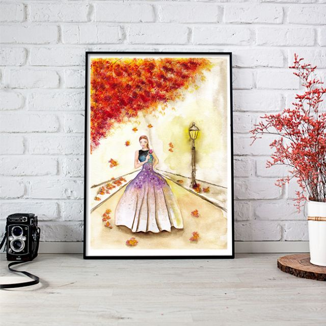 Autumn Fashion Girl Watercolor Painting by Aquarelles de Maria