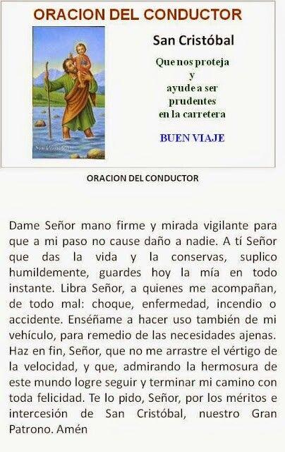 San Cristóbal, oración del conductor.