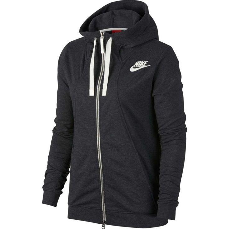 Nike Women's Gym Classic Full Zip Hoodie, Size: Medium, Black Heather