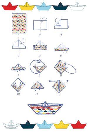 les ptits bateaux.... + pdf de papiers décorés pour faire de jolis bateaux colorés