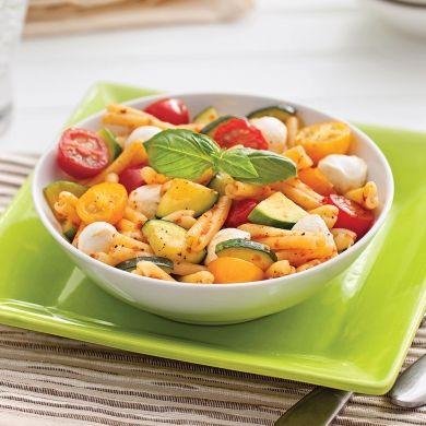 Pâtes aux courgettes, tomates et bocconcinis - Soupers de semaine - Recette minceur - Recette express 5/15 - Pratico Pratiques