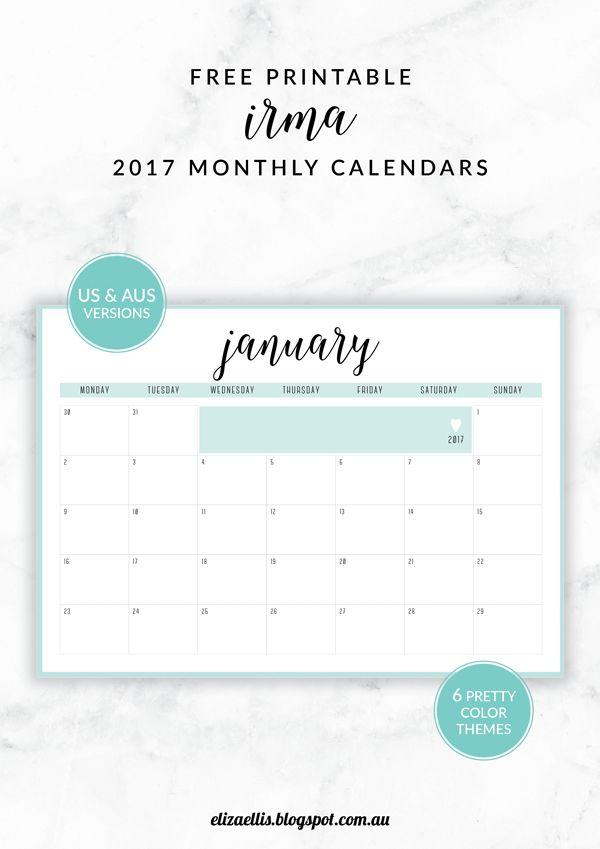FREE PRINTABLE IRMA 2017 MONTHLY CALENDARS