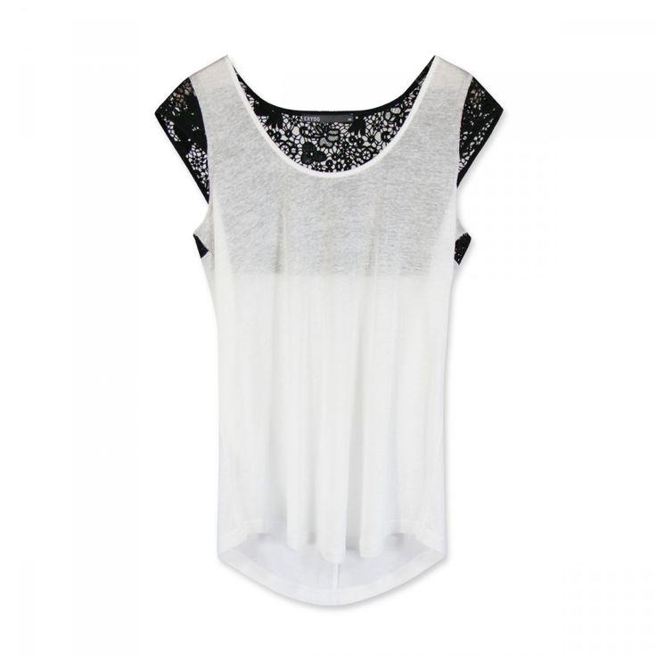 Tee-shirt+mix+jersey+et+guipure+florale+contrastée