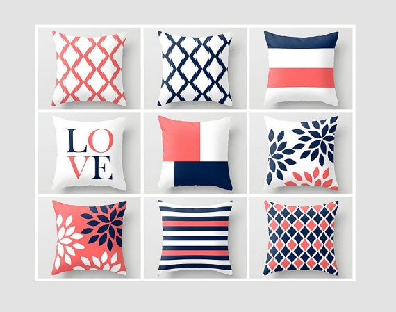 Throw Pillow Covers Navy Coral White Navy Blue by HLBhomedesigns