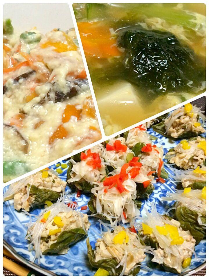 簡単で好評のシュウマイ 今夜は、魚でシュウマイ 柿入りの白和え メインの残り物でスープ 今回はマグロのシュウマイ!