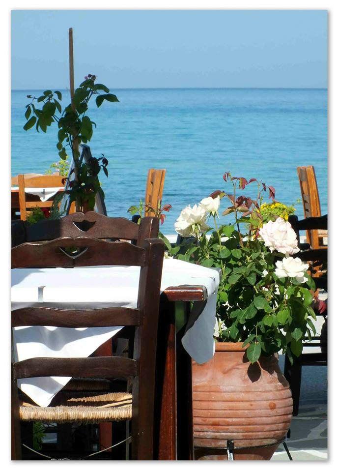 Krambousa Restaurant...next to the sea!Skala Potamias,Thassos,Greece!