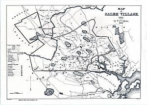 Map of Salem Village in 1692.  Salem witch trials - Wikipedia, the free encyclopedia