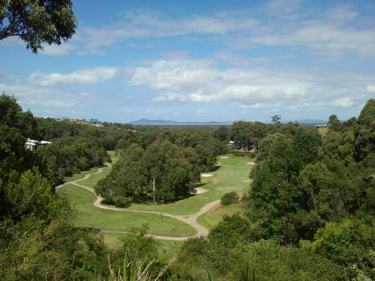TALLWOODS GC Hallidays Point near Forster NSW Aust. Long course need a cart especially on the back 9 very hilly as you can see from this hole. Views right to the ocean.
