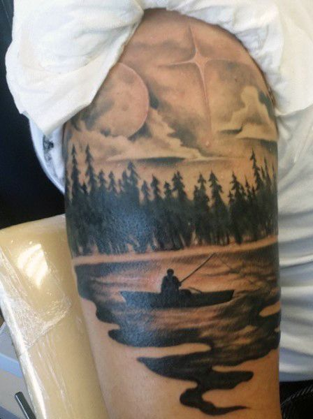 Leg Thigh Guy With Tattoos Fish