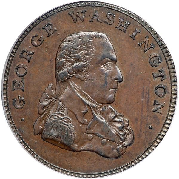 "1795 Washington ""Liberty and Security"" Penny. ""ASYLUM"" edge. PCGS MS64 A gorgeous glossy iridescent brown example of the extremely rare large head variety. This apparently is the only example that has been graded by either service. The Liberty and Security design was created at the foundry of Peter Kempson and Son of Birmingham, England in the hopes of obtaining a contract from the United States government to provide coinage. A quantity of his penny size coppers were exported to America where they were put into circulation. However, the United States government never responded to the request by offering a contract. According to one researcher, apparently Kempson did not realize President Washington had rejected Hancock's 1791 Eagle Cents and Getz's 1792 pattern because he felt it was too monarchical for a coin to carry his portrait. As it was, the United States mint had been established in 1792 and there was no need to contract out the coinage to a foreign firm. There are two basic types in this series. The first, designed by the diecutter Thomas Wyon is an undated copper penny size (33mm) token minted by Peter Kempson and Son of Birmingham. The second type in the series is considered to be later than the Kempson copper. It was designed by three diecutters named Arnold, Dixon and Mainwaring and minted by William Lutwyche in Birmingham. This coin is somewhat smaller (29mm) than the undated ""penny"" sized copper and is frequently referred to as a ""halfpenny."" The obverse of this copper token includes the legend ""GEORGE WASHINGTON"" and adapted the right facing bust of Washington found on Kempson's 1795 ""Grate"" halfpenny token (made for the Clark and Harris Company of London, merchants of fire grates and stoves). The reverse copied the Kempson coin described above, except there was a longer olive branch in the eagle's talon and most significantly, the date 1795 was added under the shield. This token comes in four varieties: with an edge legend reading either, ""PAYABLE AT LONDON LIVERPOOL OR BRISTOL"" or ""BIRMINGHAM REDRUTH & SWANSEA"" or ""AN ASYLUM FOR THE OPPRESS'D OF ALL NATIONS"" as well as with a plain edge. The plain edge variety was struck on slightly smaller planchets and therefore weigh less that the other varieties. There are also two mules using the 1795 ""LIBERTY AND SECURITY"". Finally, there is this very rare larger version (33mm) of the ""halfpenny"" token usually referred to as a ""penny"", of which about ten examples exist with the ""ASYLUM"" edge (Baker 32), and one example with a plain edge (Baker 32A) . Estimated Value $60,000-UP. #Coins #Tokens #MADonC"