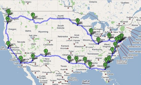cross country road trip this is basically the same trip my – Europe Travel Planner Map