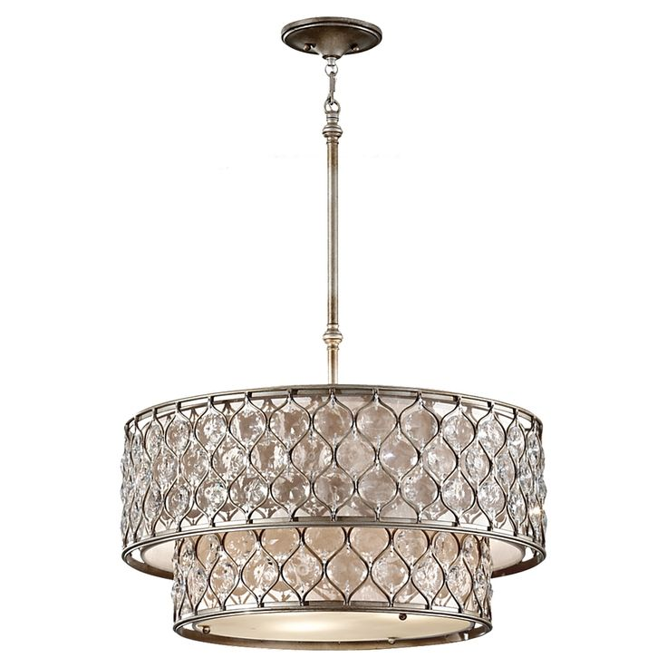 F2707/6BUS,6-Light Chandelier ,Burnished Silver