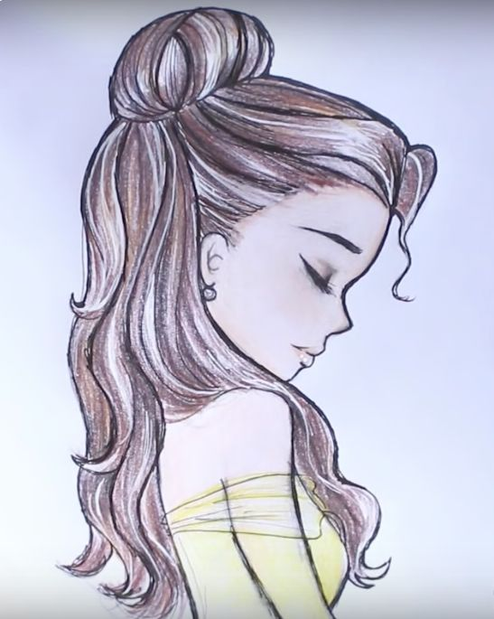 Here's how to draw Disney Princess Belle's hair! #HTD - drawing by DebbyArts (youtube)