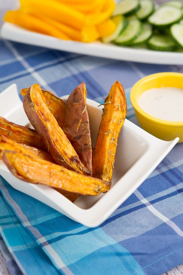 Rosemary Sweet Potato Wedges with Skinny Garlic Aioli