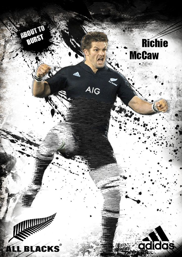 """All Blacks rugby - Richie McCaw - Adidas """"About to Burst"""" poster created by Gordon Tunstall 2015, using Adobe Photoshop"""