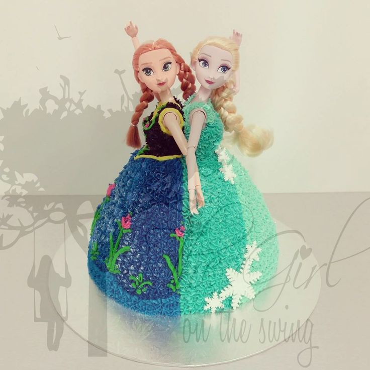 Anna and Elsa Double Doll Cake