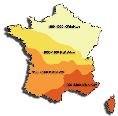 Carte ensoleillement France. Schéma Acqualys