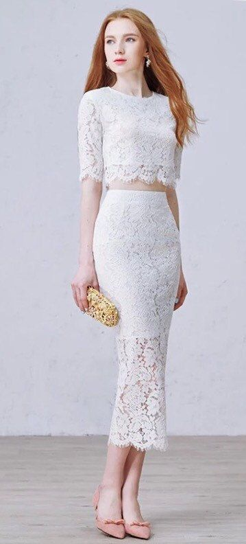 Floral Lace two piece wedding dress by BridalLounge on Etsy