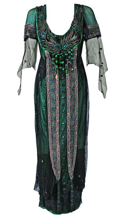 Peacock Embroidered Tea Gown, 1912. I would so wear this!