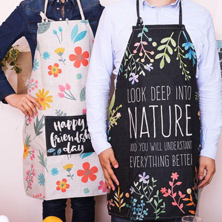 Floral Cotton Linen Long Bib Apron Home Kitchen Cooking Baking Painting Gardening Craft Work Wear Catering Barista Uniform B62
