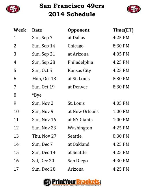 Printable San Francisco 49ers Schedule - 2014 Football Season