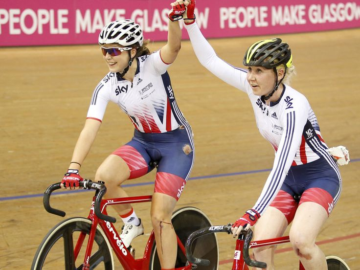 Manon Lloyd and Katie Archibald, victorious in the Madison event in Glasgow Scotland UCI World Cup with 3 bloody knees to show for their troubles ! X-Rays later showed Archibald had a broken radius and scaphoid in her wrist joint !