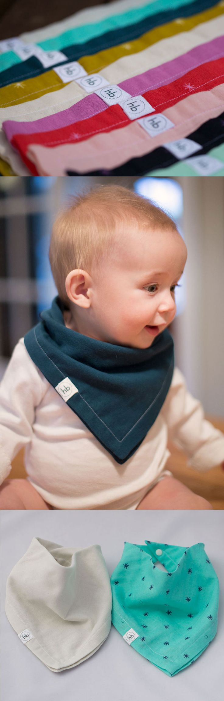 Ollie Bandana Drool Bib | Hemming Birds Boutique Soft, absorbent, stylish. Gender neutral colors included. Makes a great unique gift.