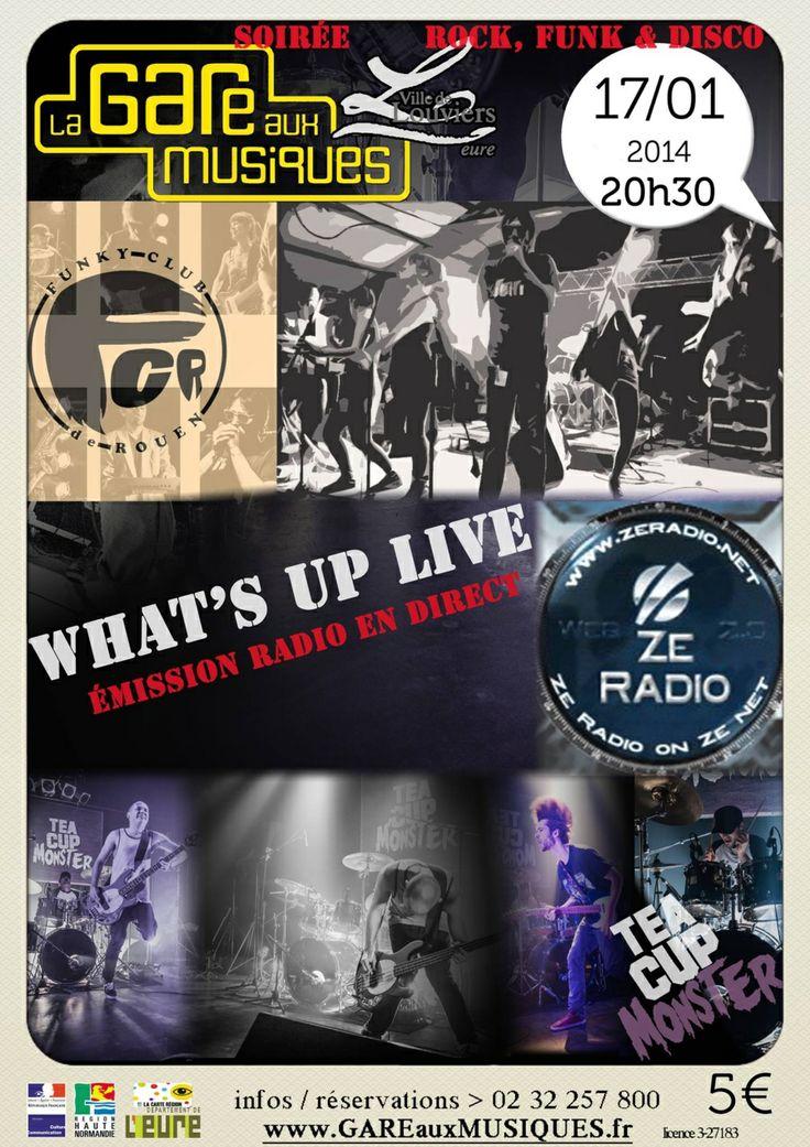 What's up ? Live ! Ce soir, à la Gare aux musiques de #Louviers, venez, bougez !