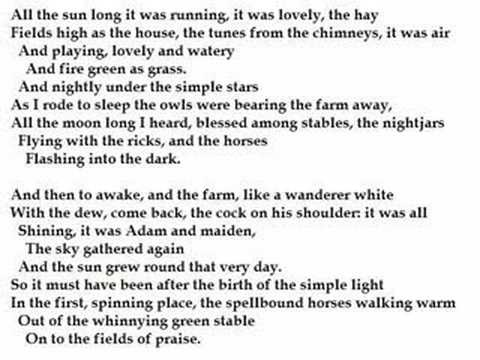 """""""Fern Hill"""" by Dylan Thomas (poetry reading)  Unbelievably beautiful ~ ALW"""