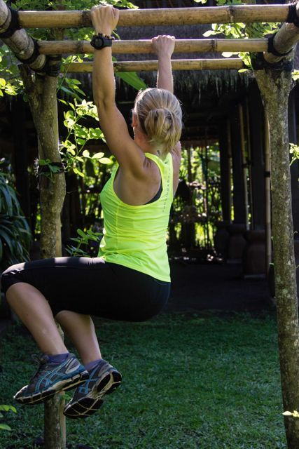 Fitness can be child-like fun. It also takes a lot of core strength to play like a kid! Trainer Marni Alexander out us through our paces on an Awaken In Bali Health Retreat.