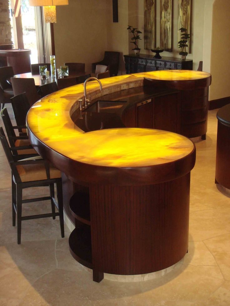 Interior , Great Home Bar Ideas Bring You To The Coziest Place At Home :  Awesome Circular Bar Counter For Striking Look