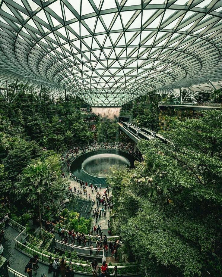 Singapore Changi Airport (With images) Indoor waterfall