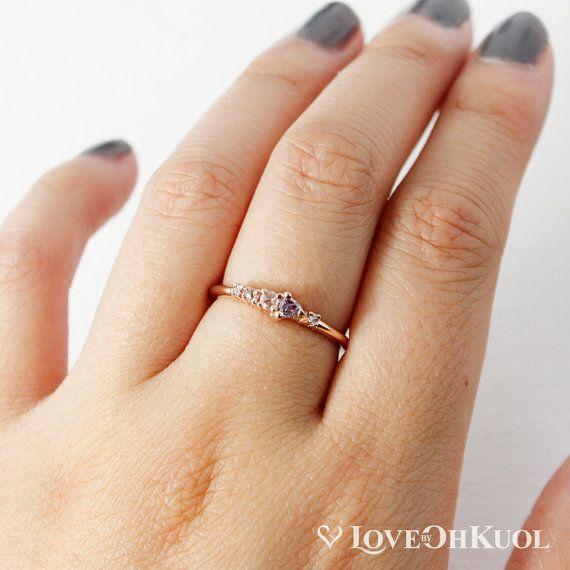 Natural Diamond Ring Pink & White Rose Cut Diamonds 14KT